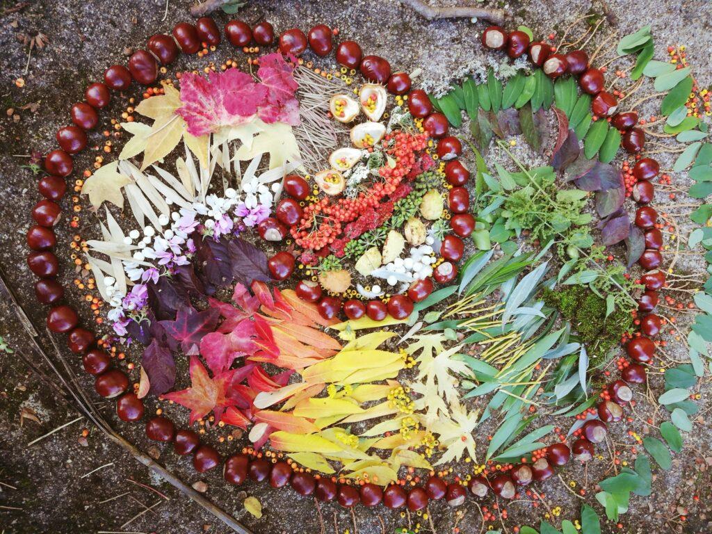 land art mandala multicolore